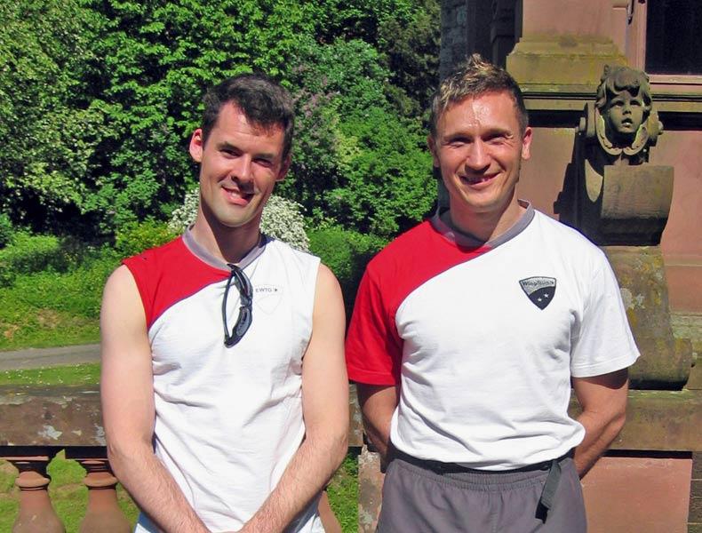 Sifu André mit Trainingspartner und Freund Sifu Thorsten Heiligensetzer 2008 auf der Terasse von Schloss Langenzell